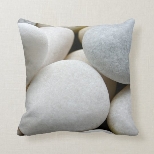 Smooth White Round Zen Pebbles Stone Photo Cushion