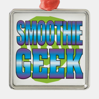 Smoothie Geek v3 Silver-Colored Square Ornament
