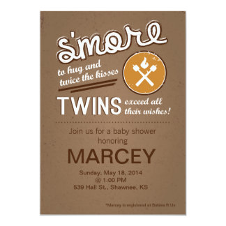 S'more Twin Baby Shower Card