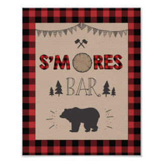 S'mores Bar Sign Lumberjack table sign Birthday