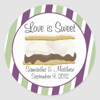 Smores Favor - Love Is Sweet Round Sticker