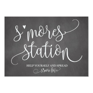 S'mores Station Favor Party Signage 5x7 Card
