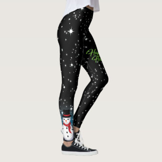 Smowman Merry Christmas Happy Holidays Leggings
