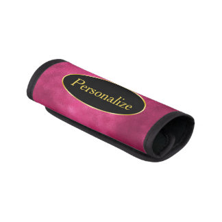 Smudge Hot Pink with Black and Gold Label Luggage Handle Wrap