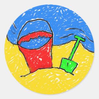 Smudgy Beach Round Stickers