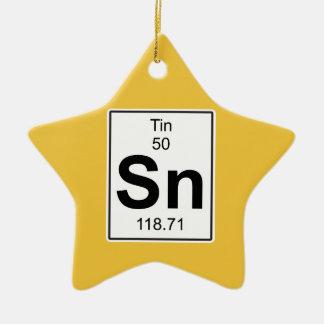 Sn - Tin Ceramic Star Ornament