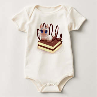 Snack Time: Cat Eating Pastry Baby Bodysuit
