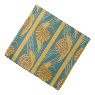 Snail Animal Shells Pattern Print Blue Yellow Gold Bandana