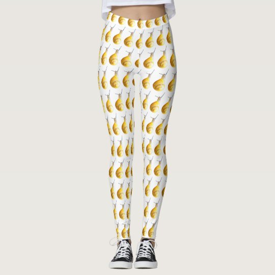 Snail Animal White Delicate White Yellos Leggings