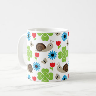 Snail & Clover Seamless Pattern Coffee Mug