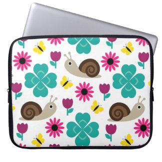Snail & Clover Seamless Pattern Laptop Sleeve