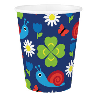 Snail & Clover Seamless Pattern Paper Cup
