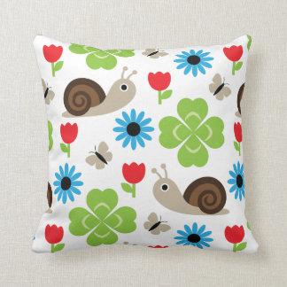 Snail & Clover Seamless Pattern Throw Pillow