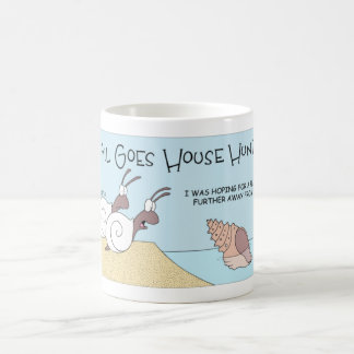 Snail goes house hunting coffee mug