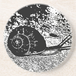 Snail in Black and White Coaster