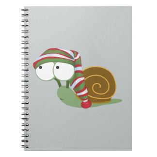 Snail in winter cap spiral notebook