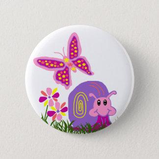Snail n Butterfly button