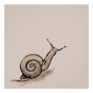 Snail original pastel zen drawing poster