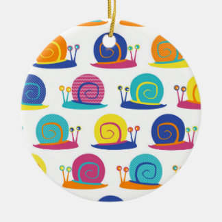 Snail Party Pattern Ceramic Ornament