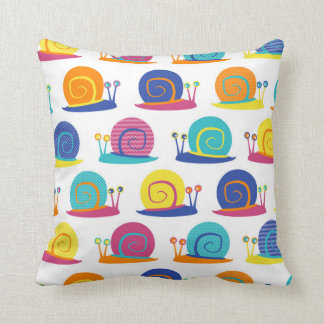 Snail Party Pattern Throw Pillow