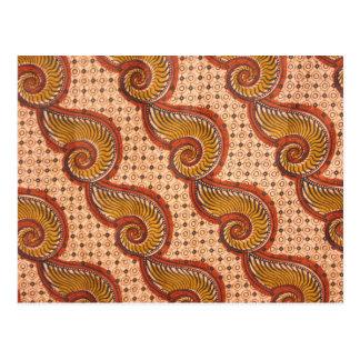 Snail Shell African Fabric Design Postcard