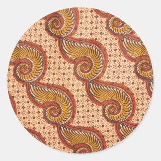 Snail Shell African Fabric Design Round Sticker
