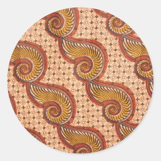 Snail Shell African Fabric Design Sticker