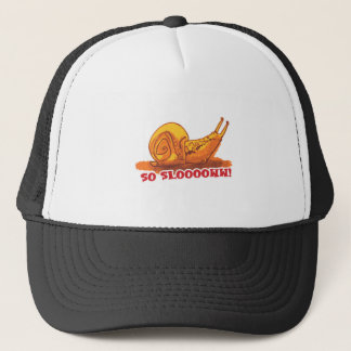 snail with text cartoon style trucker hat