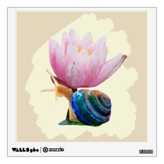 Snail with Water Lily Flower (Customize color!) Wall Sticker
