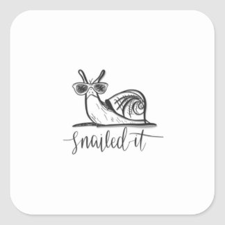 Snailed it square sticker