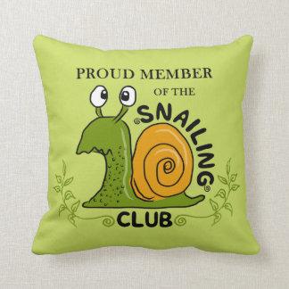 Snailing Club Proud Member Throw Pillow
