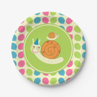 Snails and Balloons children Birthday Party 7 Inch Paper Plate