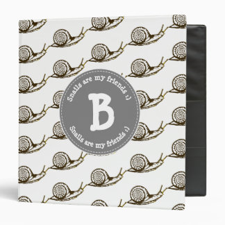 Snails are my Friends Monogram 3 Ring Binders