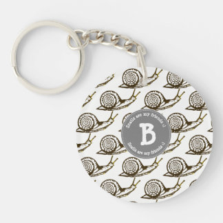 Snails are my Friends Monogram Keychain