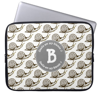 Snails are my Friends Monogram Laptop Sleeve