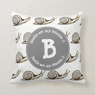 Snails are my Friends Monogram Throw Pillow