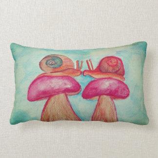 Snails Mushrooms Art Lumbar Pillow 33 cm x 53 cm