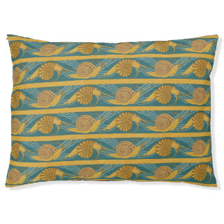 Snails Pattern Print Snail Blue Yellow Teal Gold Large Dog Bed