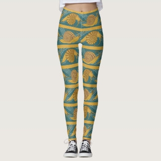 Snails Pattern Print Snail Blue Yellow Teal Gold Leggings