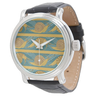 Snails Pattern Print Snail Blue Yellow Teal Gold Watch