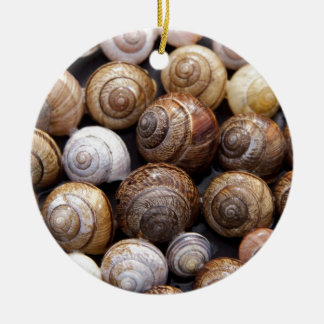 Snails Round Ceramic Ornament
