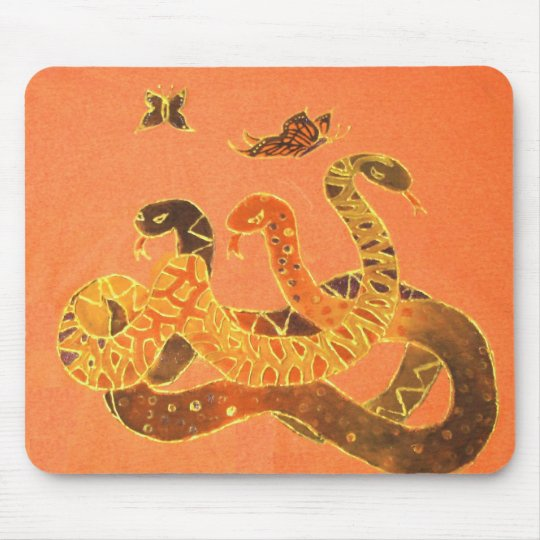 Snake and Butterfly Mousepad - Smooth