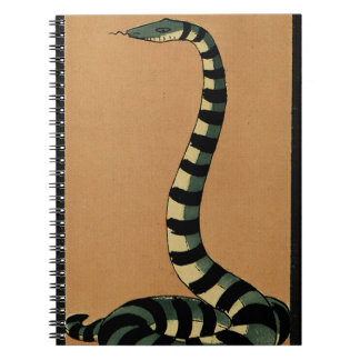 Snake - Antiquarian Colorful Book Illustration Spiral Notebook