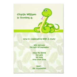 "Snake Birthday Party 5"" X 7"" Invitation Card"