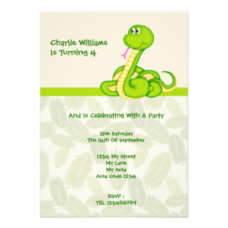 Snake Birthday Party Custom Announcements