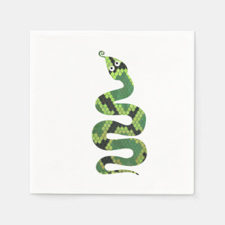 Snake Black and Green Print Silhouette Paper Napkin