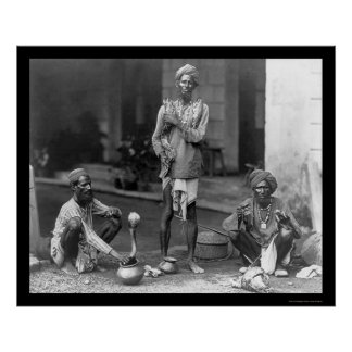 Snake Charmers With Their Cobras in India 1898 Poster