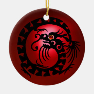 SNAKE DRAGON  Black and Red Ruby Round Ceramic Ornament