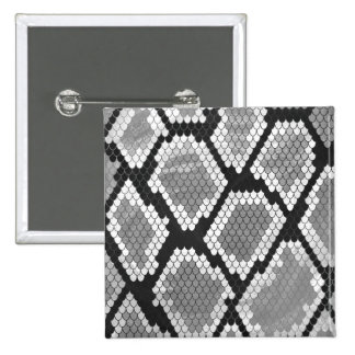 Snake Grey, White and Black Print 2 Inch Square Button