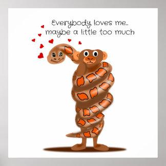 Snake Hugging Monkey Everybody Loves Me Poster